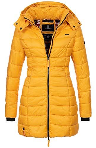 Marikoo Herbst Winter Übergangs Steppmantel Jacke Mantel gesteppt B603 [B603-Abend-Gelb-Gr.S]