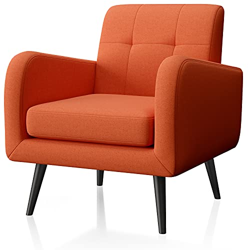 arm chairs JustRoomy Modern Accent Chair Fabric Armchair Living Room Chair Upholstered Arm Chair Comfy Mid-Century Leisure Lounge Chair Bedroom Office Single Sofa Side Chair with Removable Seat Cushion, Orange