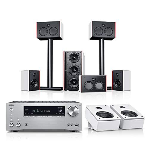 Teufel System 4 THX AVR für Dolby Atmos 5.1.2-Set Weiß / Weiß / Silber Heimkino Lautsprecher 5.1 Soundanlage Kino Raumklang Surround Subwoofer