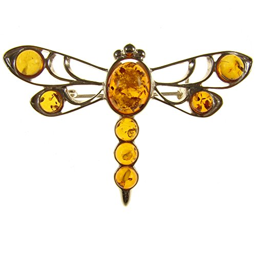 SA Brooches Baltic Amber and Sterling Silver 925 Cognac Dragonfly Brooch pin Jewellery Jewelry