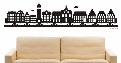 INDIGOS UG - Wandtattoo Wandsticker Wandaufkleber Aufkleber - Wandaufkleber e822 Skyline Stadt - Lingen (Deutschland) Design 2-60x14 cm - schwarz - Dekoration Küche Bad Büro Hotel