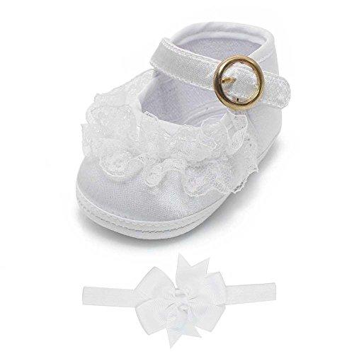 DELEBAO Babyschuhe Taufschuhe Krabbelschuhe Weiche Sohle Schnüren Weiße Schuhe Baby Taufe Kleinkind Solekleinkind Krippeschuhe für Mädchen (Schuhe&Stirnband,3-6 Monate)
