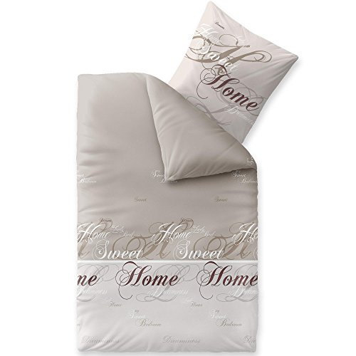 CelinaTex Touchme Biber Bettwäsche 155 x 220 cm 2teilig Baumwolle Bettbezug Sarah Wörter beige braun weiß