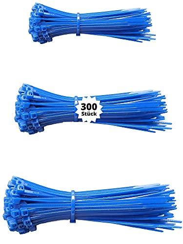 djb, extra hochwertige Profi Kabelbinder blau, Set, 300 Stück, Industrie-Qualität, Sortiment 100/140/200 mm