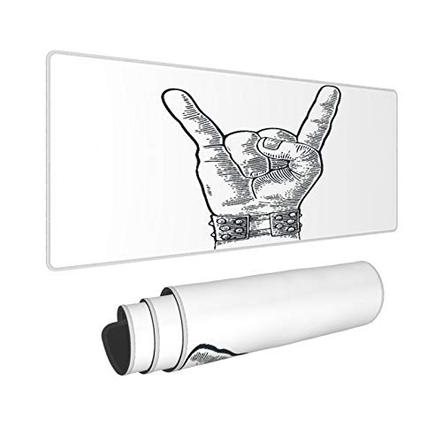 PANILUR Alfombrilla Gaming,Pulsera con Pinchos de Metal con Signo de Mano de Rock and Roll Que le da al Diablo Gesto de Cuernos,con Base de Goma Antideslizante,800×300×3mm