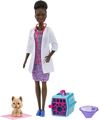Barbie Pet Vet Playset with Brunette Doll (12-in), Role-Play Clothing & Accessories: Cone, Pad, Pet Crate, Puppy Figure, Great Gift for Ages 3 Years Old & Up
