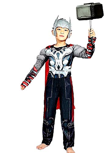 Thor-kostuum - gespierd torso - superheld en masker - kinderen - vermomming - carnaval - halloween - accessoires - maat l - 6/7 jaar - cadeau-idee voor kerstmis en verjaardag cosplay