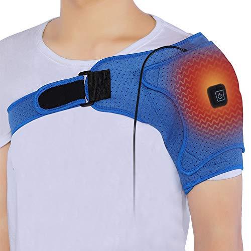 Ortesis de hombro con calefacción, vendaje de soporte de hombro de neopreno ajustable para lesiones, dolor de hombro, articulaciones de CA, hombreras ajustables para aliviar el dolor de los músculos d