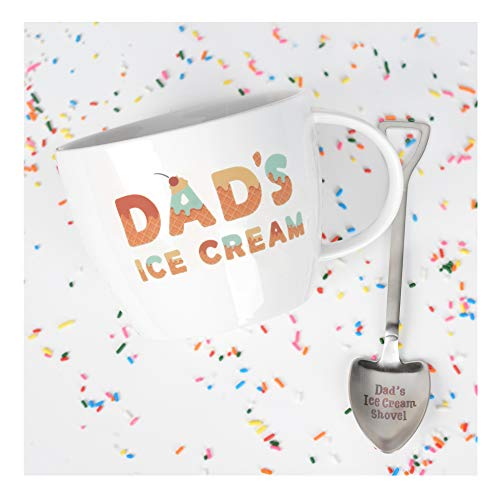 Gifts for Dad –Dad's Ice Cream Bowl and Engraved Spoon Dad's Ice Cream Shovel – Ideal Father's Day Gift, Christmas Gift or Birthday Gift by Josephine on Caffeine