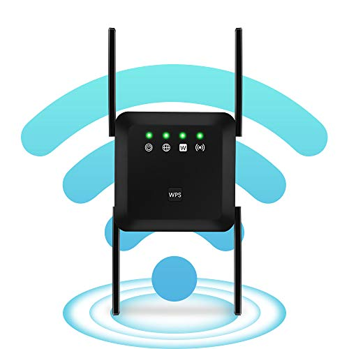 WiFi Range Extender, 1200Mbps WiFi Booster Dual Band 2.4G & 5G Signal, WiFi Signal Booster Repeater Amplifier 360°Full Coverage, Extend Signal for Home Alexa Devices