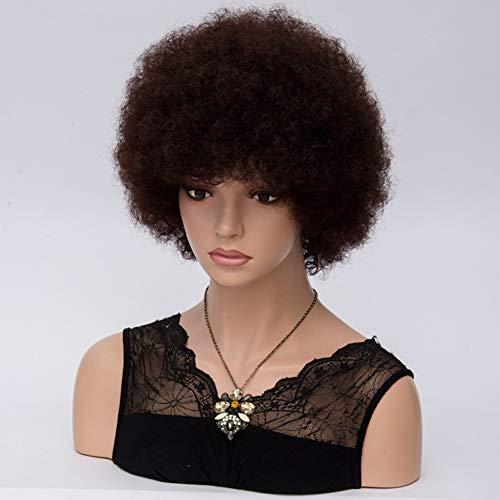 Etruke Perruque afro courte bouclée pour femme Cheveux synthétiques Marron foncé 25 cm