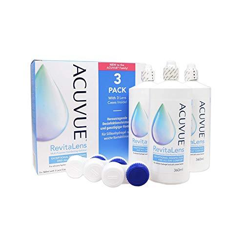 ACUVUE RevitaLens MPDS – Pflegemittel & Reiniger für weiche Kontaktlinsen mit antimikrobieller Wirkung – Wirkt mehr als 16 Stunden – 3 x 360 ml Kombilösung