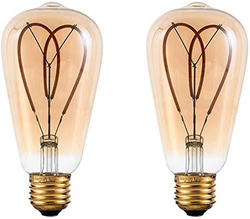 EMGQ Bombilla de ahorro de energía ST64 Soft Filament-Love, 4W Vintage LED Edison Bulbs, equivalente a 40W, bombilla de filamento de filamento de espiral flexible antiguo, sin parpadeo ahorro de energ
