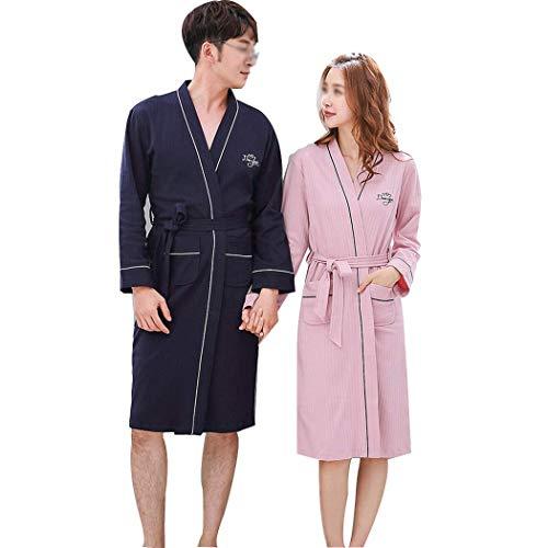 GJFeng Couple de Pyjama Simple Peignoir à Manches Longues Peignoir Long Coton Grande Taille Service à Domicile Doux et Confortable (Color : Ms. L)