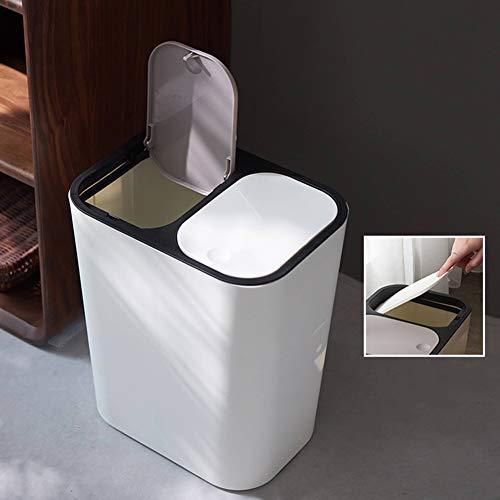 Warmiehomy Küche Mülleimer 15L Duo Abfalleimer mit Deckel 2 Fach Mülltrennsystem Doppelte Mülltonne Müllbehälter Papierkorb aus Kunststoff Weiß