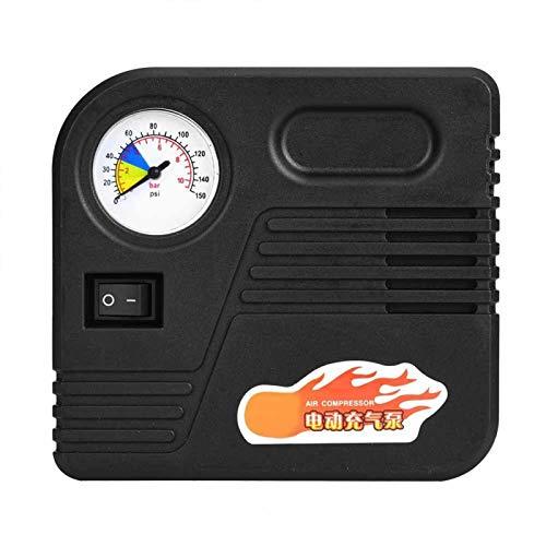 Bruryan Bomba de inflado Bomba de compresor de Aire de presión portátil Bomba de Aire eléctrica con manómetro y Boquilla de Aire para Motocicleta Electromóvil