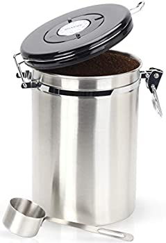 Coffee Canister - Gorgeous Stainless Steel Storage Container with Scoop - Keeps Your Coffee Airtight Fresh and Flavorful 22oz