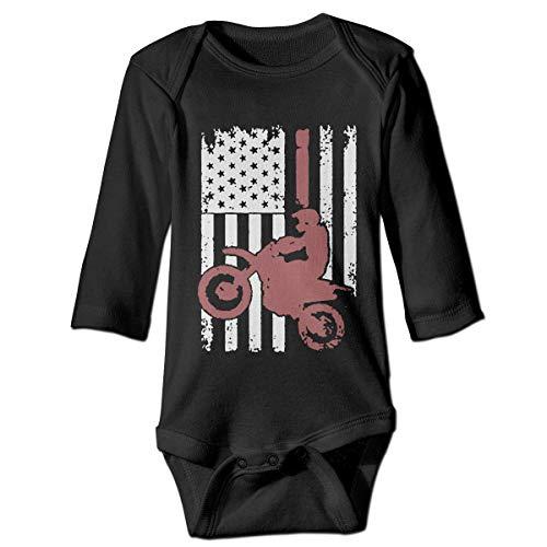 LittleHorn Dirtbike Motocross Flag Pattern Baby Onesie Boy Girl Long Sleeve Playsuit Outfit Black