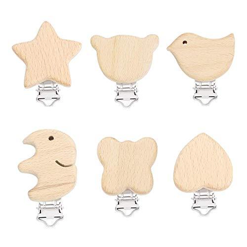 Schnuller Clip, Holz Schnullerclips Set, Schnullerketten Clips Schnuller Halter Baby Beißring für Neugeborene Krankenpflege Spielzeug, 6 Stück