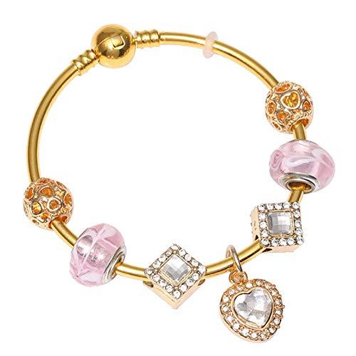 Color oro serpiente cadena encanto pulsera con cristal corazón perlas ajuste estilo europeo pulsera joyería regalo para las mujeres C01 19cm