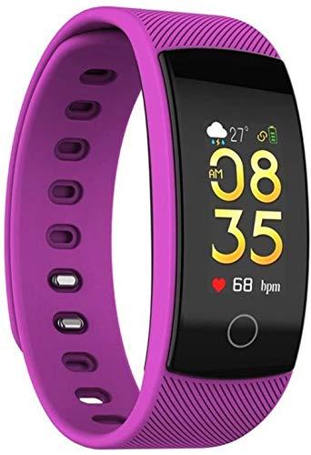 AMBM Plus Smart Watch Fitness Monitor de ritmo cardíaco Pantalla meteorológica Pulsera deportiva IP67 impermeable (color negro)-morado