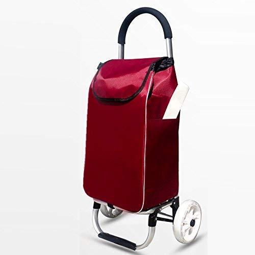 Pkfinrd Carro de compras ligero para coche, gran capacidad, plegable, aleación de aluminio, 2 ruedas, color rojo