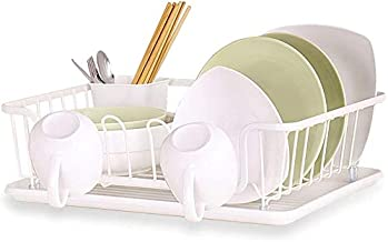 Kitchen Dish Drainer Rack with Removable Plastic Drip Tray and Cutlery Holder, Rust-Resistant Carbon Steel Bowl Organizati...