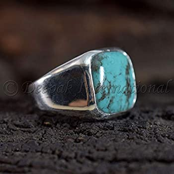Solid 925 Sterling Silver Jewelry Tibetan Turquoise Ring Statement Ring Tibetan Turquoise Man's Ring Wedding Ring Handmade Rings Jewelry For Gift Square Shape Gemstone Ring