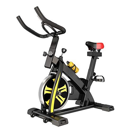 Bicicleta estática con volante de inercia de 10 kg, ergómetro con transmisión por correa y resistencia continua, velocidad con pantalla LCD, color amarillo