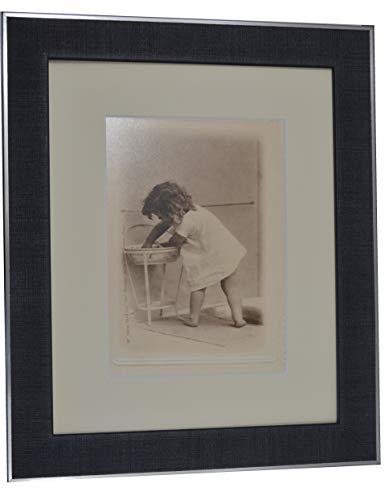 Impression encadrée de scène de l'heure du Bain, Image Mignonne pour Salle de Bain, décoration Murale Ancienne Photo réimprimée en 25,4 x 20,3 cm