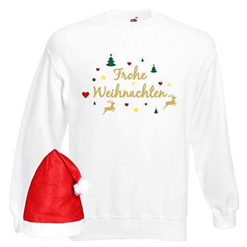 Shirt-Panda Herren Sweatshirt Frohe Weihnachten Rentier Weiß mit Mütze 5XL