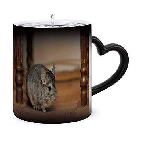 Taza de café mágica que cambia el calor, lindo ratoncito en la casa, taza de cerámica sensible al calor que cambia de color, 11 oz Model20422