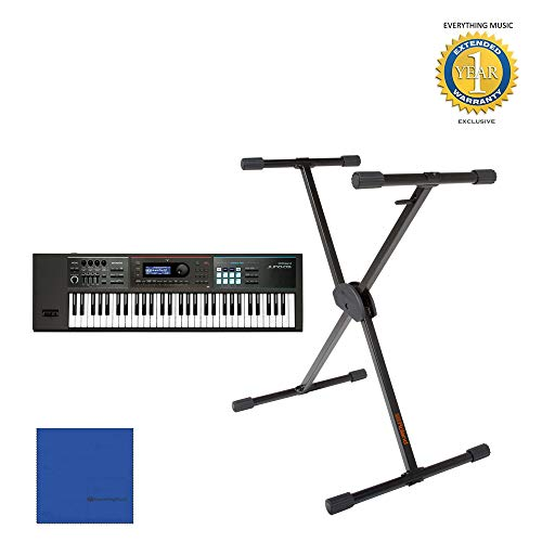 Lowest Price! Roland Juno DS-61 Keyboard with KS-10X Stand with Microfiber and 1 Year Everything Mus...