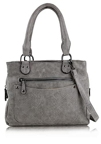 irisaa Damen Handtasche, Henkeltasche mit vielen Fächern, Umhängetasche Hobo Schultertasche Vintage Look mit abnehmbarem Schulterriemen, Damen Tasche:Grau