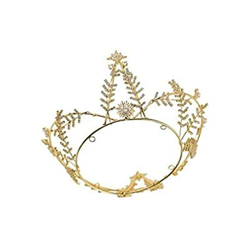 QWEASD Headdress High-end Moon Boot Mode Bruiloft Goud Diamant Kroon Oorbellen Ketting Jurk Headdress Set