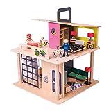 Playland Puppenhaus aus Holz modernes Haus mit 2 Etagen; mit Schiebetür, Wendeltreppe und...