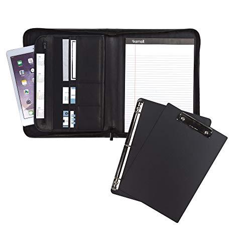 Samsill Conjunto de pastas profissionais 70829, inclui prancheta removível, fichário de anel redondo de 12,7 cm com fecho seguro de zíper, manga para tablet de 25,4 cm, preto