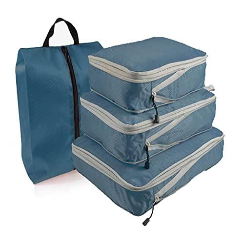 BAIGM Set di 4 sacchetti per valigie a forma di cubo, a compressione, per bagagli e bagagli, impermeabili, per vacanze e viaggi