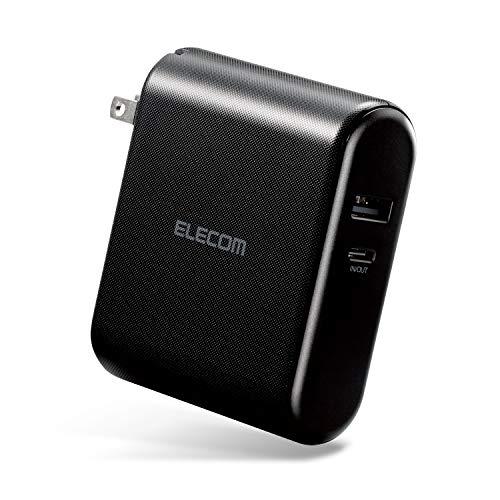 エレコム AC充電器 USB充電器 (モバイルバッテリー 10000mAh 搭載 一体型) USB-A×1&Type-C×1 (最大3A出力) 【 iPhone/Android 対応 】 PSE適合 ブラック DE-AC04-10000BK
