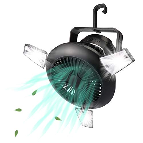 Camping Fan with LED Lights, Portable Solar Tent Fan with Hanging Hook, Rechargeable 4000mAh Battery Operated USB Desk Fan Kit for Tent Car Camping, Home & Office