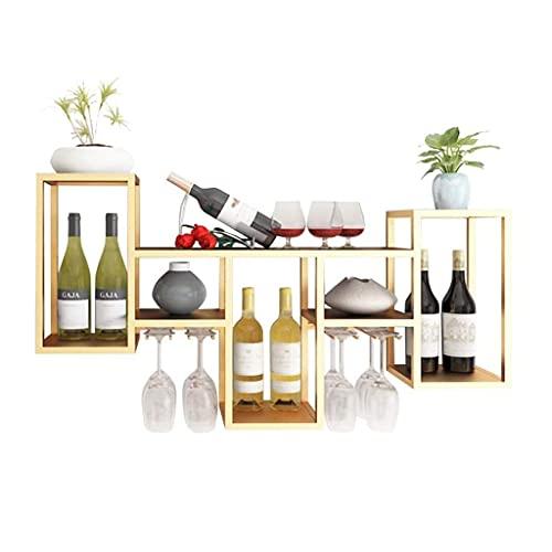NMDCDH Organizador de estantes para Vino montado en la Pared, Estante para Botellas de Vino Soporte para Copas de Vino, Accesorios para Bar Estantes Estantes para Copas de Vino Estantes p