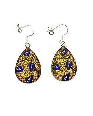 Boucles d'oreilles pendantes cabochon * wax * jaune et bleu tissu Africain ethnique bijou coloré femme tendance cadeau de noël cadeau pour elle anniversaire fêtes