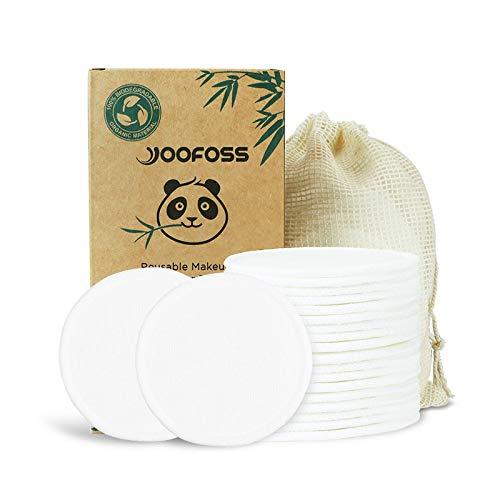 Yoofoss Coton Demaquillant Lavable, 20 Tampons Démaquillants Réutilisables en Coton Bambou Lavables avec sac à Linge et Boîte pour le Stockage Tampons en Coton écologiques pour Tous les Ttypes de Peau