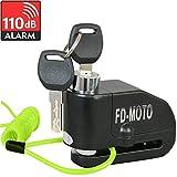 FD-MOTO - Dispositivos Antirrobo Candado de Disco con Alarma Antirrobo Acero 7mm 110DB Negro con Cable Enrollado de 1,4M para Moto Motocicleta