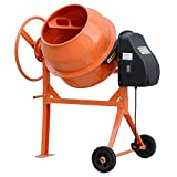 Cement Mixer 63L 230V/50HZ-220W Concrete and Mortar Mixer Electric Portable with 2 Movable