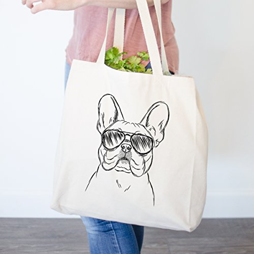 Franco the French Bulldog Heavy Duty 100% Cotton Canvas Tote Shopping Reusable Grocery Bag 14.75 x 14.75 x 5