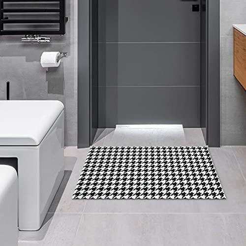 Alfombrilla para puerta de baño, decoración de cocina, pata de gallo en blanco y negro, antideslizante, suave, 15.7 x 23.6 pulgadas