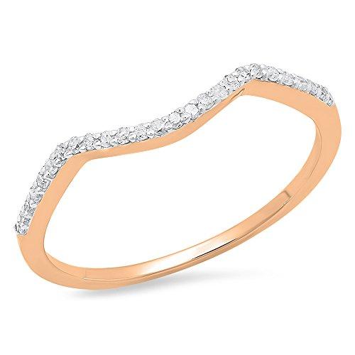 Dazzlingrock Collection 0.12 Carat (ctw) 14K Round Cut Diamond Ladies Wedding Band Contour Guard Ring, Rose Gold, Size 7.5