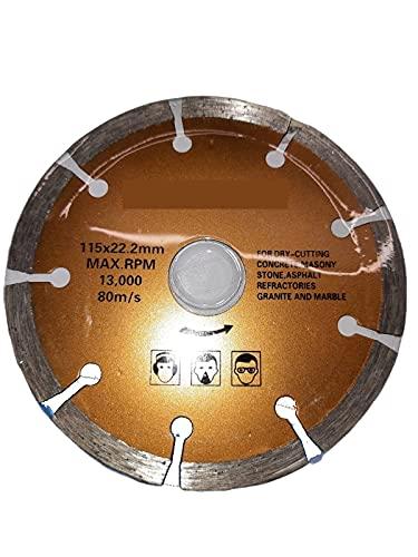 Disco Diamantato 115 Mm Per Smerigliatrice Angolare - Disco Da Taglio Per Cemento, Pietra, Mattoni, Calcestruzzo, Granito - 4.5 Inch 13.000 Rpm 115X22.2Mm 80M/S