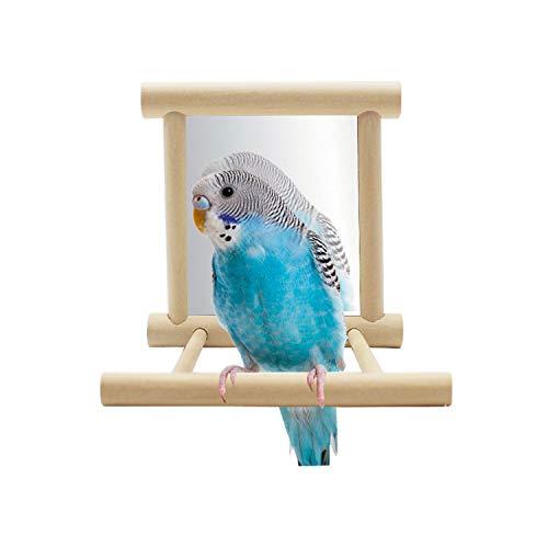 Hypeety Jouet miroir avec perchoir pour perroquet, perruche, calopsitte, conure, pinson, inséparable, ara, gris du Gabon, amazon, cacatoès, perroquet (couleur aléatoire) (9,4 × 9,4 × 9,4 cm)